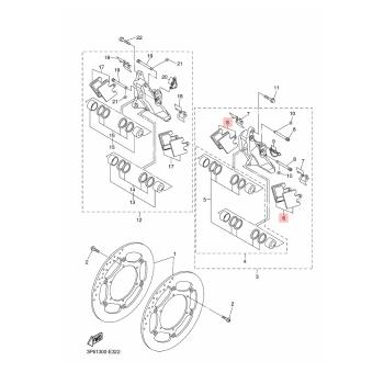 Накладки предни Yamaha 3P6W00450000