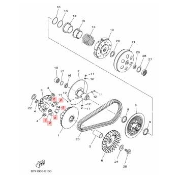 Ролки за вариатор Yamaha B74E76320000
