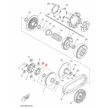 Ролки за вариатор Yamaha 1SDE76320100