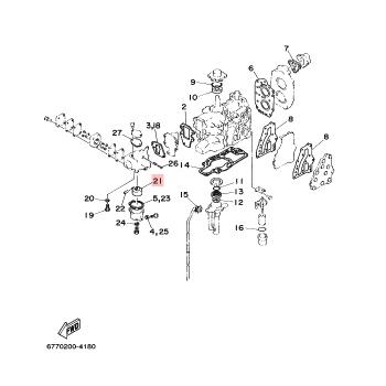Поплавък за карбуратор за извънбордов двигател Yamaha - 6E7143850000
