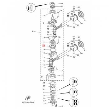 Семеринг за колянов вал на двигатели Yamaha - 63V115150200