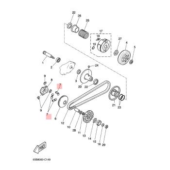 Ролки за вариатор Yamaha 4B0E76320000